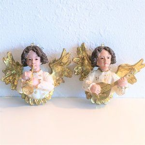 2 MUSICAL ANGELS * GOLD GILT CHRISTMAS ORNAMENTS